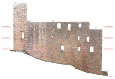 2D-Plan-Orthofoto-Punktwolke-Fassadenansicht-Fassadenplan-Strichzeichnung-3D-Denkmal-Vermessung-per-Drohne-Laserscanning-Denkmalschutz-Burg-Freienstein-2