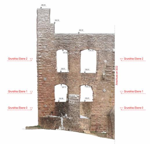 2D-Plan-Orthofoto-Punktwolke-Fassadenansicht-Fassadenplan-Strichzeichnung-3D-Denkmal-Vermessung-per-Drohne-Laserscanning-Denkmalschutz-Burg-Freienstein-3