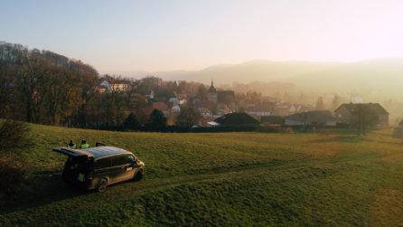 Sonnenuntergang-ueber-der-Stadt-Kartierung-mittels-Drohne-Auskundung-Vermessung-Breitbandausbau-Niedersachsen