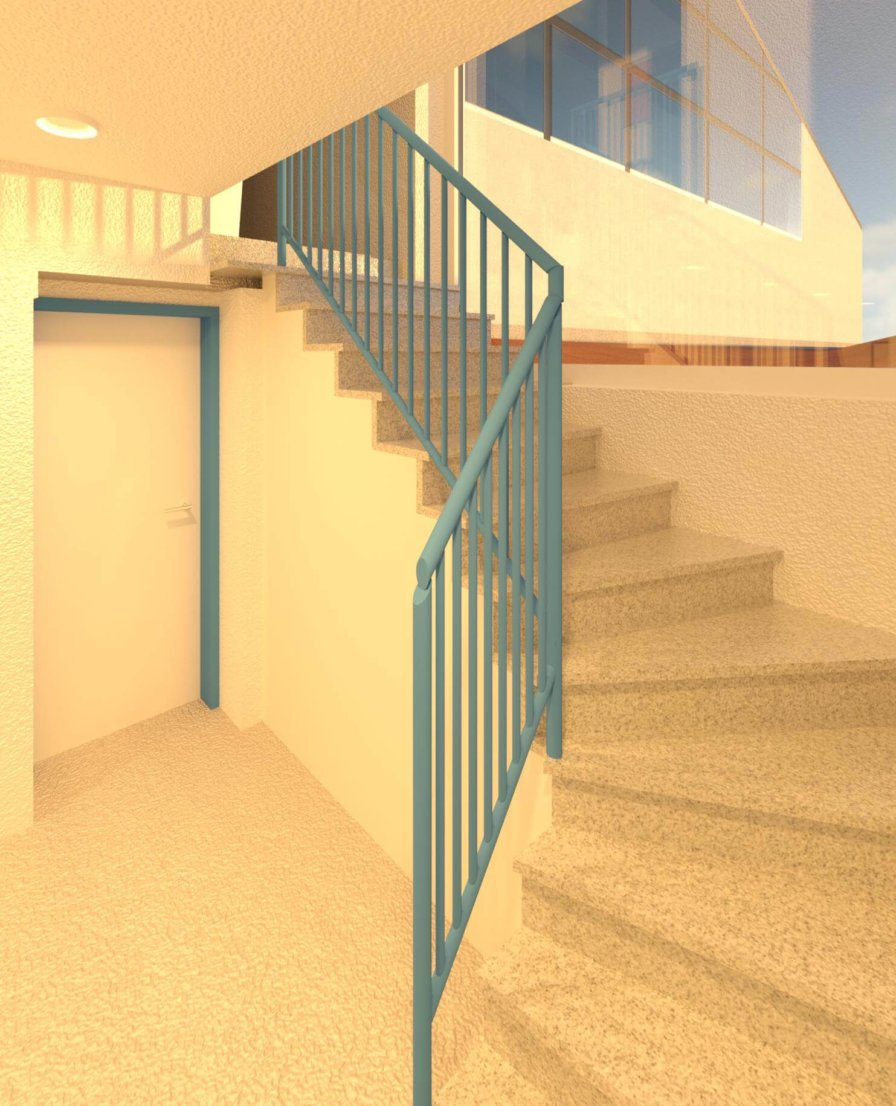 Treppenaufgang-Treppenhaus-Gelaender-Rendering-texturiertes-3D-Modell-nach-Modellierung-der-3D-Punktwolke-3D-Modellierung