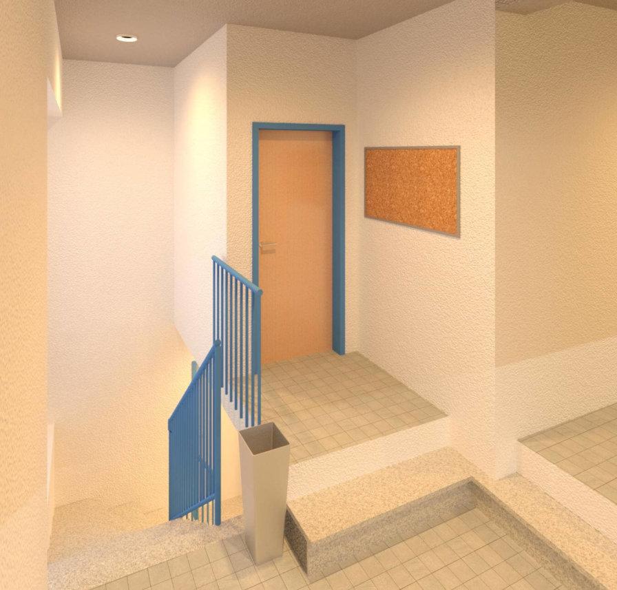 Treppenaufgang-Treppenhaus-Tuer-Gelaender-Rendering-texturiertes-3D-Modell-nach-Modellierung-der-3D-Punktwolke-3D-Modellierung