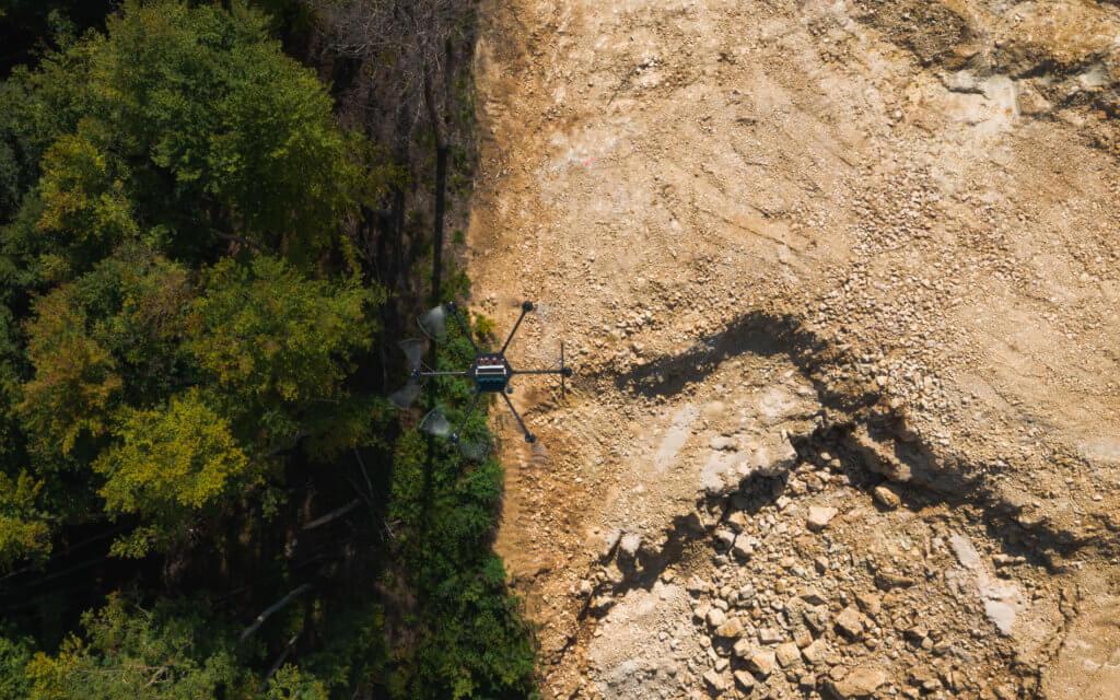 3D Bestandsvermessung mittels Drohne bei Steinbrucherweiterung nach Erdarbeiten