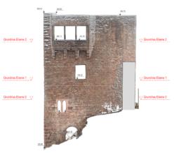 Fassaden-Ansicht-mit-farbiger-Punktwolke-CAD-Plan-CAD-Modellierung-Fassadenplan-Fassadenansicht-Ergebnis-3D-Drohnenvermessung-einer-Burgruine-Burg-Vermessung