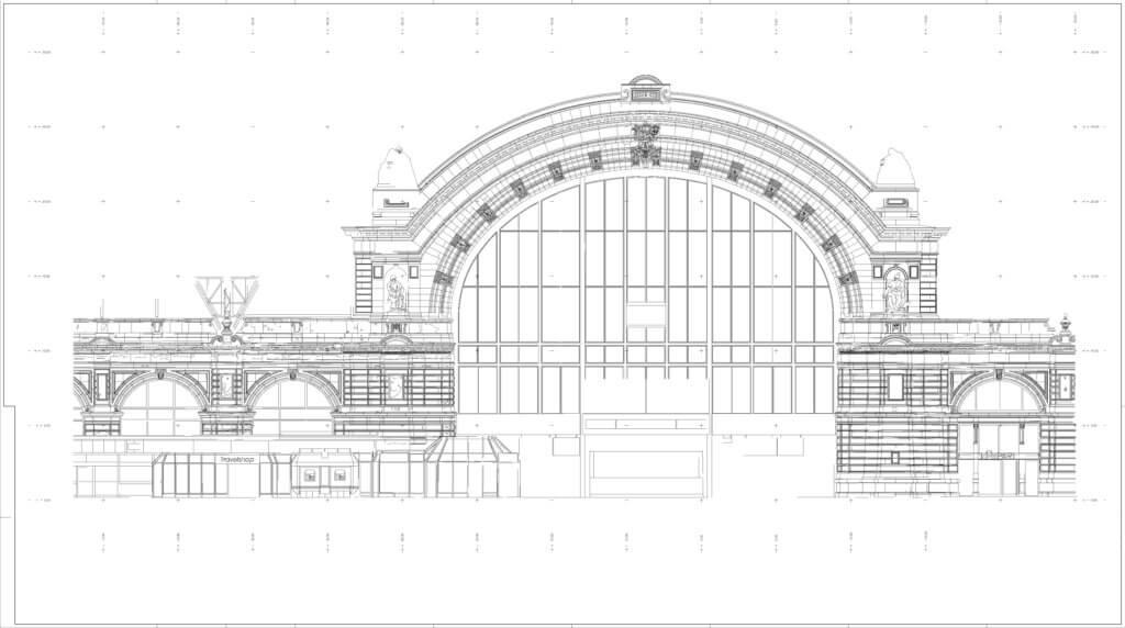 2D-CAD-Plan-Fassadenplan-HBF-FFM-3D-Fassadenaufnahme-per-Drohne-zur-Vermessung-CAD-Modellierung-Deutsche-Bahn-Hauptbahnhof-Frankfurt