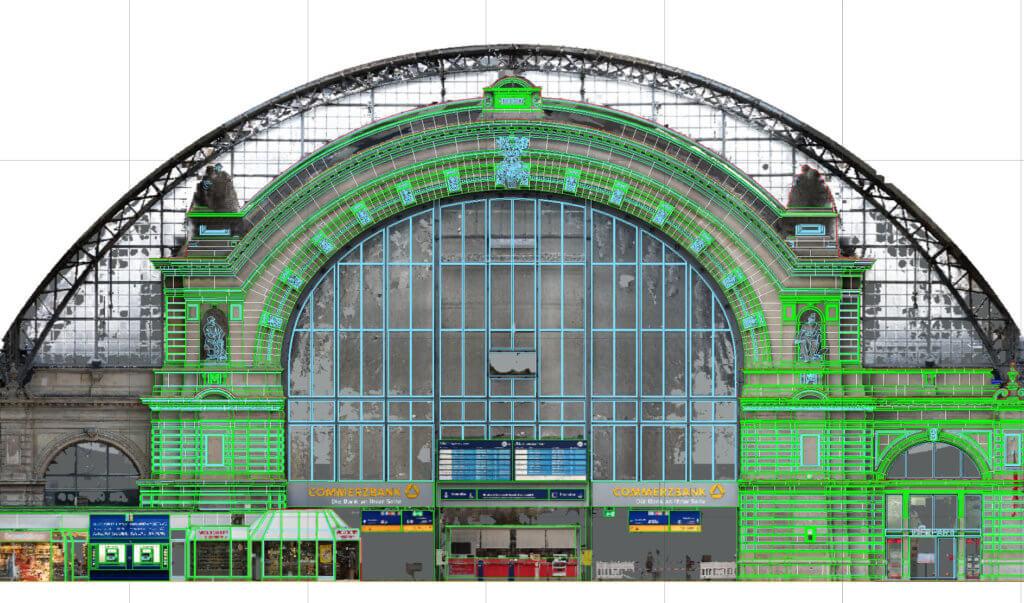 2D-CAD-Plan-Orthofoto-Fassadenplan-HBF-FFM-3D-Fassadenaufnahme-per-Drohne-zur-Vermessung-CAD-Modellierung-Deutsche-Bahn-Hauptbahnhof-Frankfurt