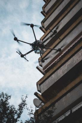 Balkone-3D-Fassadenvermessung-LiDAR-Scanner-Drohne-Frankfurt-Hochhaus-Wohnkomplex