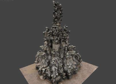 3D-Modell-Hugenottenbrunnen-Erlangen-Texturiertes-Mesh-VR-Modell-3D-Vermessung-Denkmalschutz-Drohne-terrestrischer-Photogrammetrie