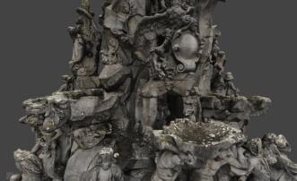Detail-3D-Modell-Texturiertes-Mesh-VR-Modell-3D-Vermessung-Denkmalschutz-Drohne-terrestrischer-Photogrammetrie-Hugenottenbrunnen-Erlangen