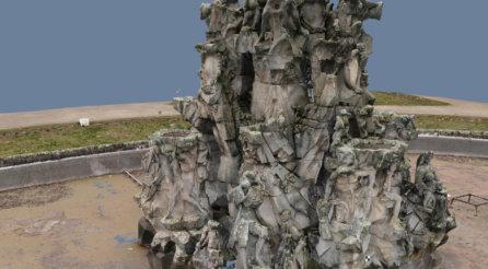 Ausschnitt-3D-Punktwolke-Hugenottenbrunnen-Erlangen-Texturiertes-Mesh-VR-Modell-3D-Vermessung-Denkmalschutz-Drohne-terrestrischer-Photogrammetrie