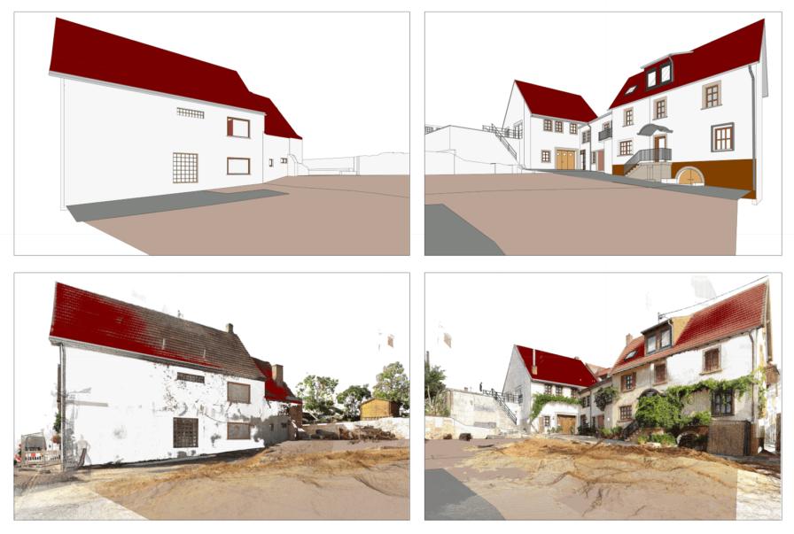 Ansicht-3D-Modell-und-3DPunktwolke-Kombinierte-3D-Gebaeudeaufnahme-Drohne-Laserscanner-Weingut-Pfalz