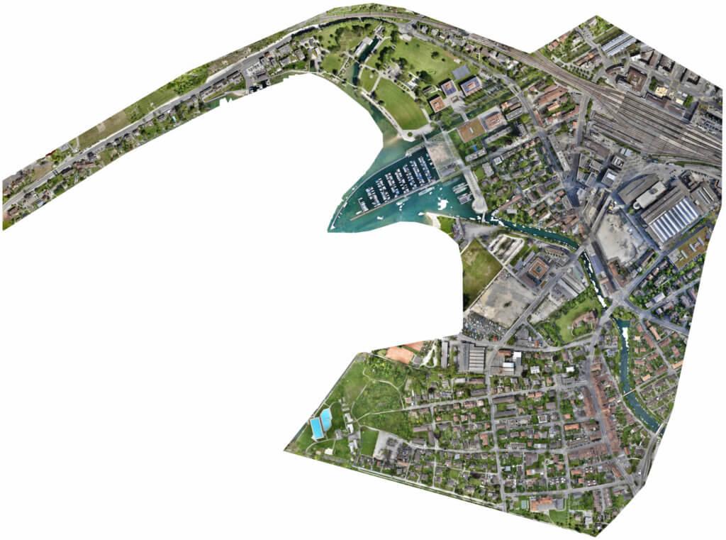 Georeferenziertes-Orthophoto-Orthoto-UAV-Vermessung-Drohnen-Vermessung-Stadt-Biel