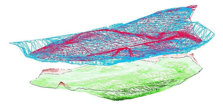 Screenshot-zwei-Gelaendemodelle-DGM-Vergleich-Aufrag-Abtrag-Digitales-Gelaendemodell-Vergleich-Digitale-Gelaendemodelle-Dreiecksvermaschung-DGM-3D-Gelaendemodell