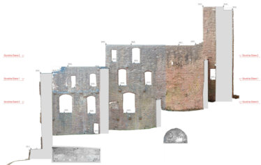 2D-plan-orthophoto-point-cloud-facade-view-facade-plan-line-drawing-3D-monument-measurement-by-drone-laser-scanning-monument protection-Burg-Freienstein-1