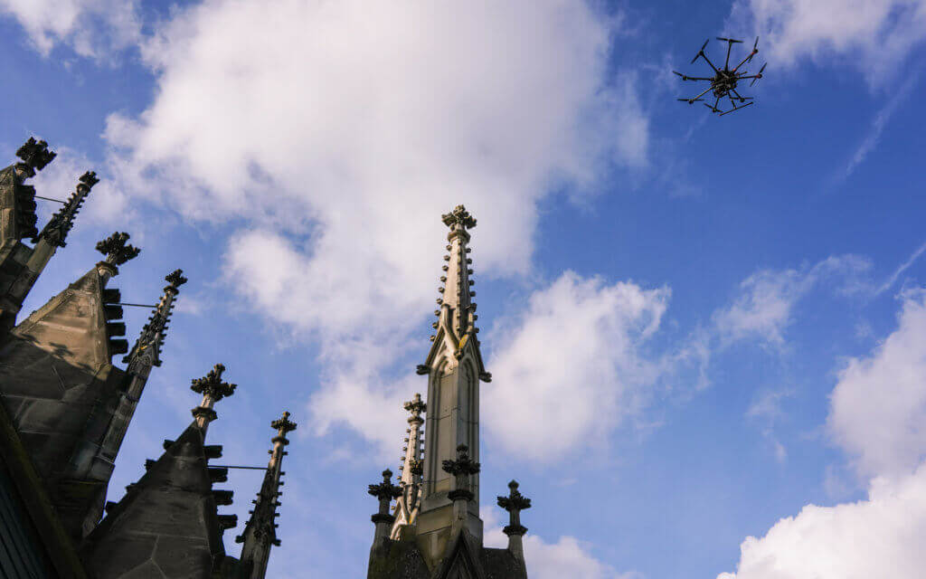 Drone-Church-Facade-Church-Tower-Monument-Surveying-UAV-Monument Protection-Digitization-Cultural Property-3D-Surveying-Inspection-Damage Checking-Documentation-3D-Modeling