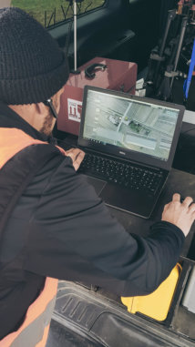 route-survey-mission-logxon-operator-worker-planning-drone-3d-railway-ugcs-laptop-field
